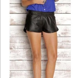 Rails Perforated Black Lambskin Leather Shorts
